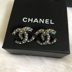 Rare Blue Pearl Twisted Chanel CC Earrings